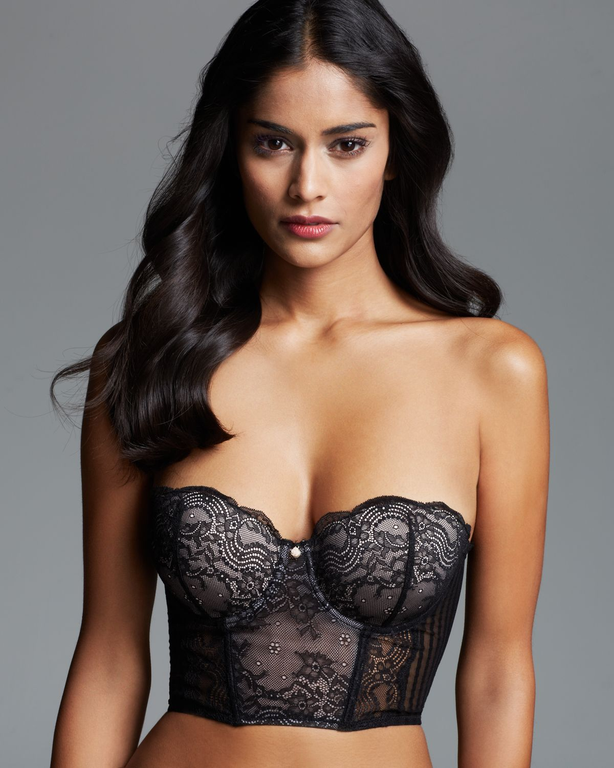 Blush lingerie strapless cropped corset in black lyst