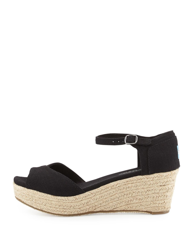 toms canvas platform wedge sandal in black lyst