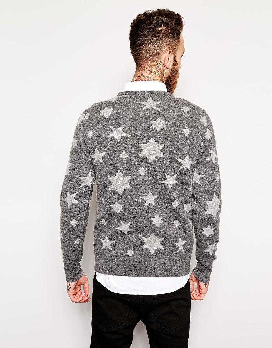 06199dc5f174f Lyst - YMC Sweater In Star Pattern in Gray for Men