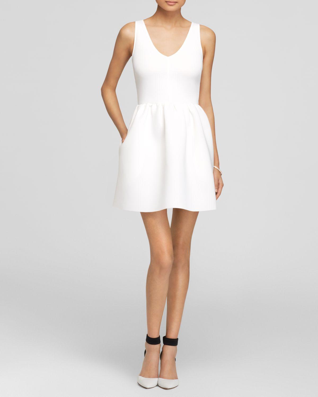Aqua Dress Neoprene V Neck In White Lyst