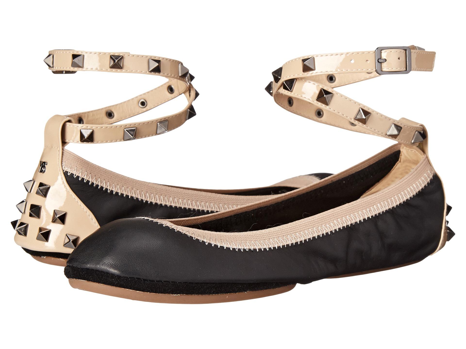 d06bee151fc Lyst - Yosi Samra Addison Soft Leather Fold Up Flat W  Studded Ankle ...