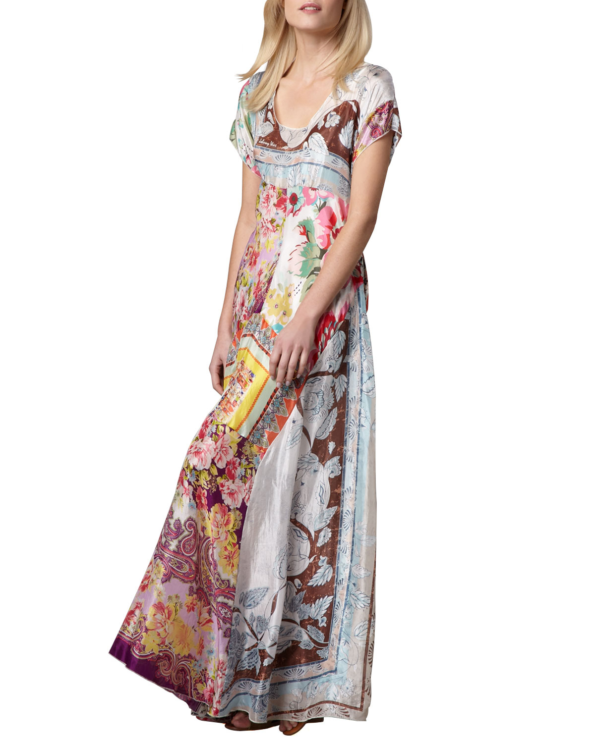 Johnny was Printed Georgette Maxi Dress in Multicolor ...