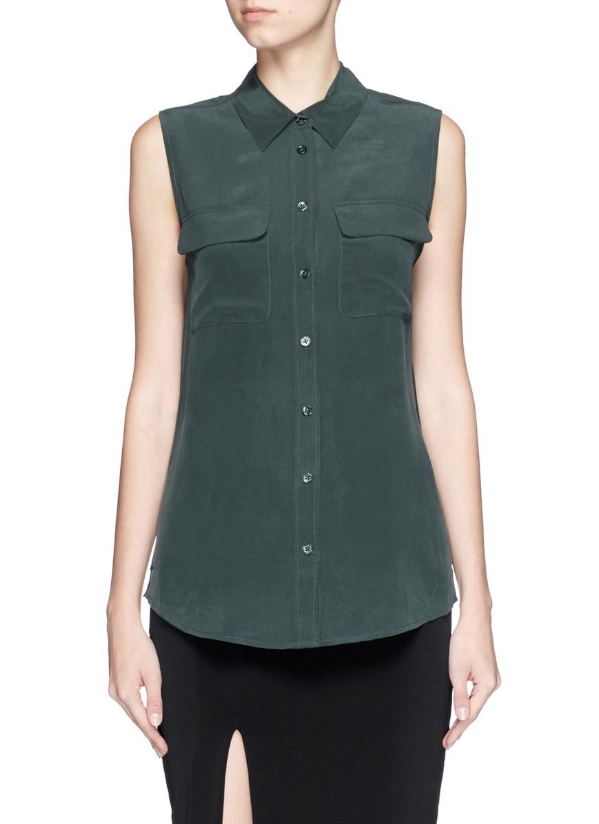 Equipment 39 slim signature 39 silk shirt in green lyst for Equipment signature silk shirt
