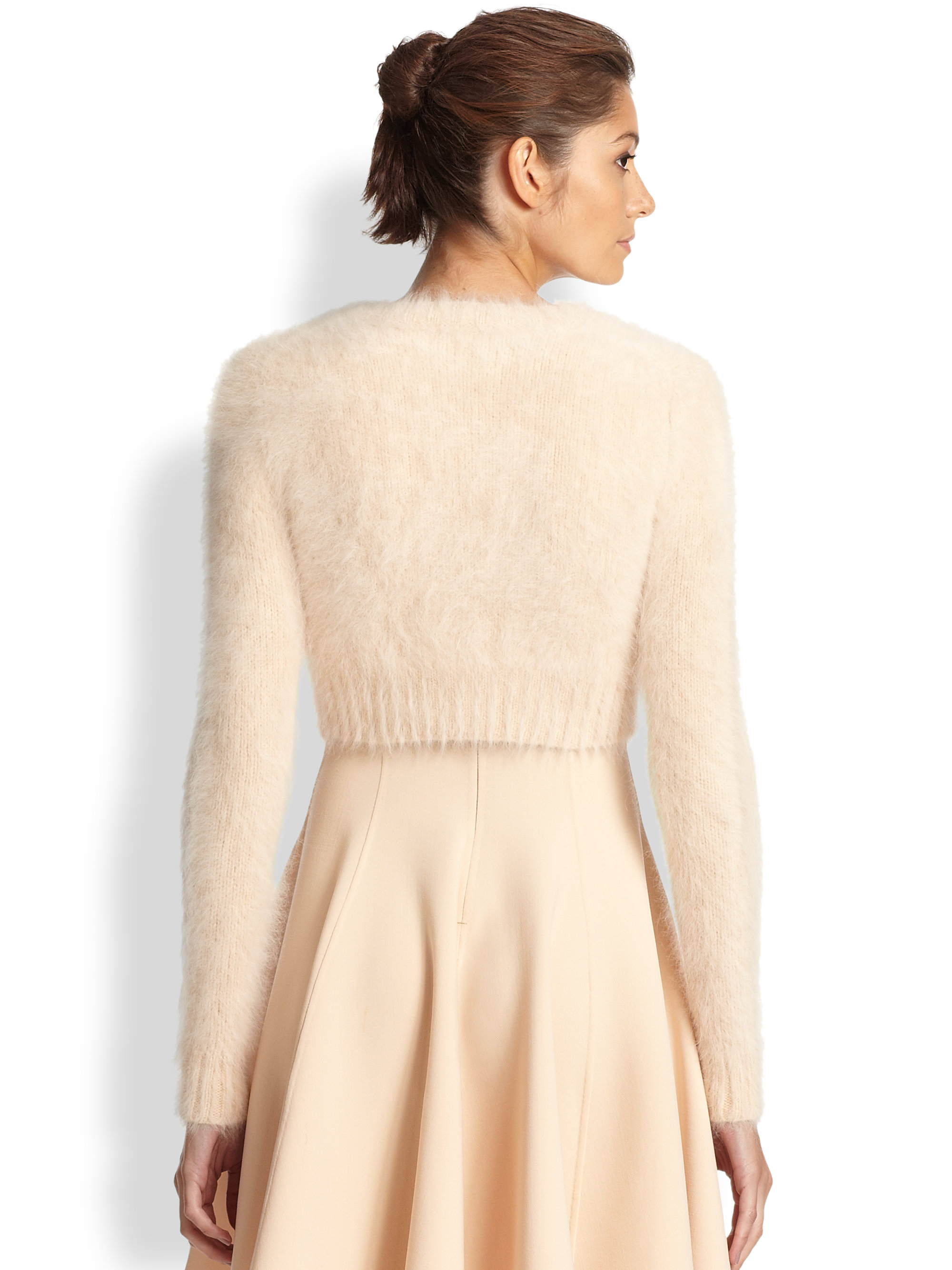 Michael kors Cropped Angora Cardigan in Natural | Lyst