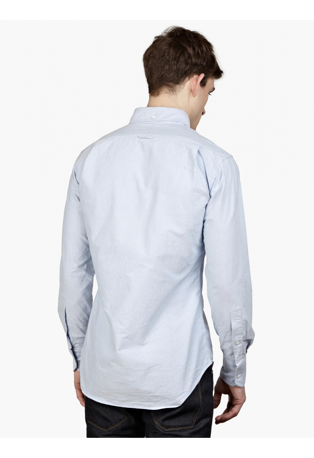 Thom browne men s blue cotton oxford shirt in blue for men for Mens blue oxford shirt