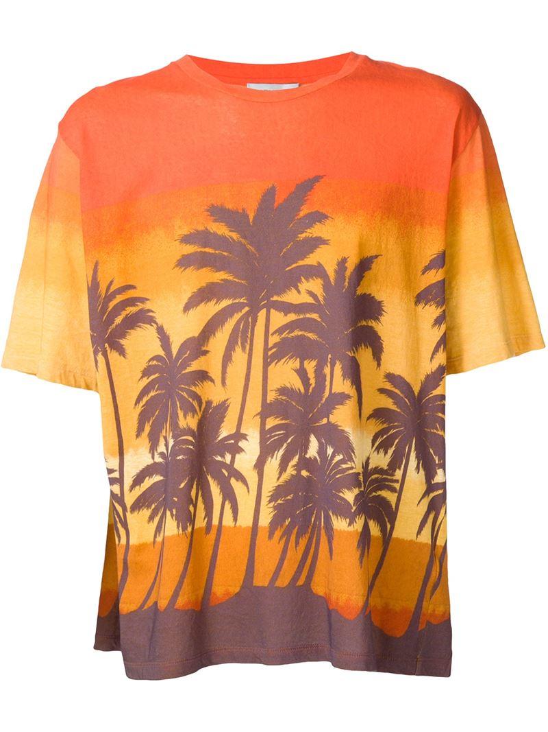 saint laurent palm tree print t shirt in orange for men lyst. Black Bedroom Furniture Sets. Home Design Ideas
