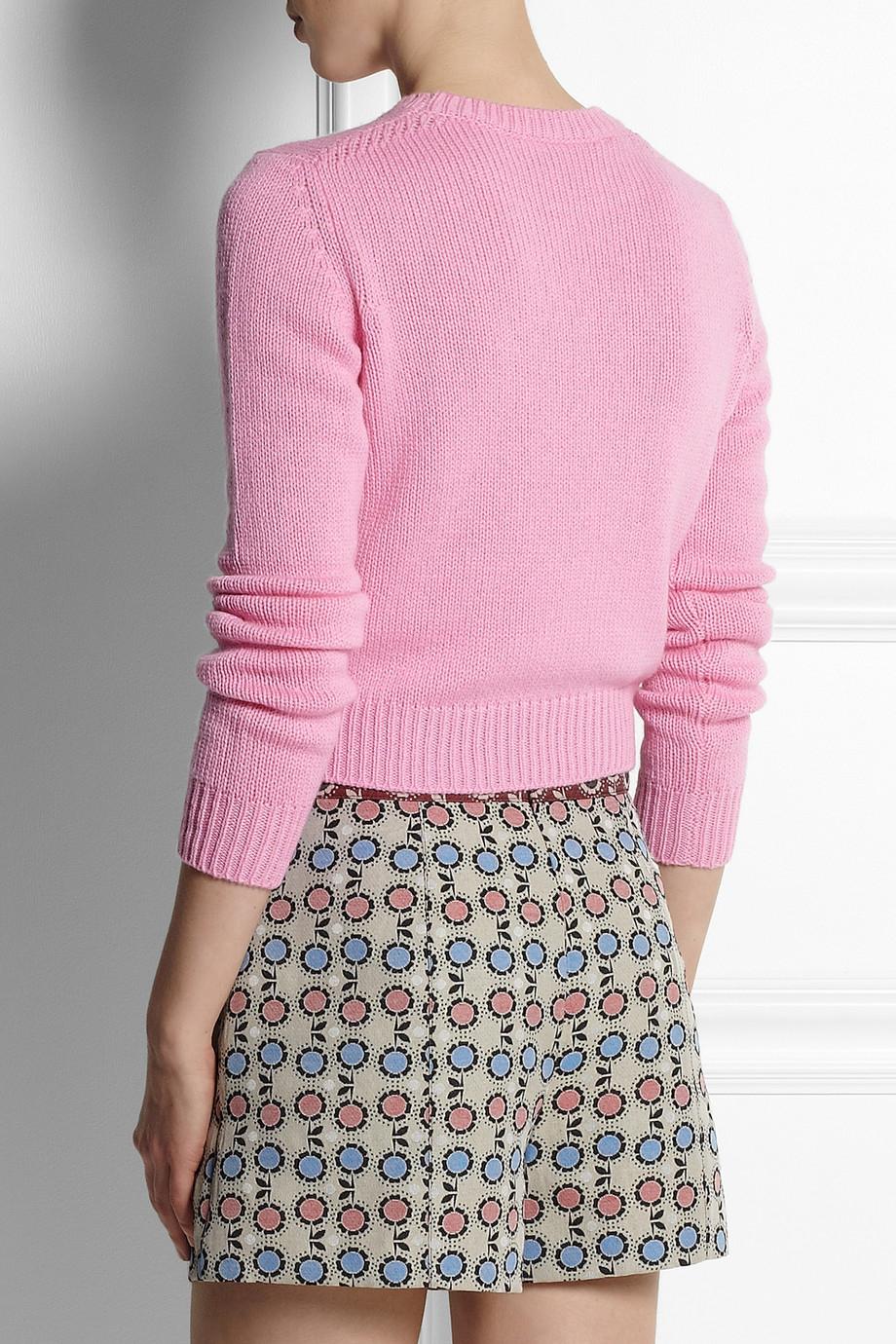 Miu miu Cropped Cashmere Sweater in Pink | Lyst