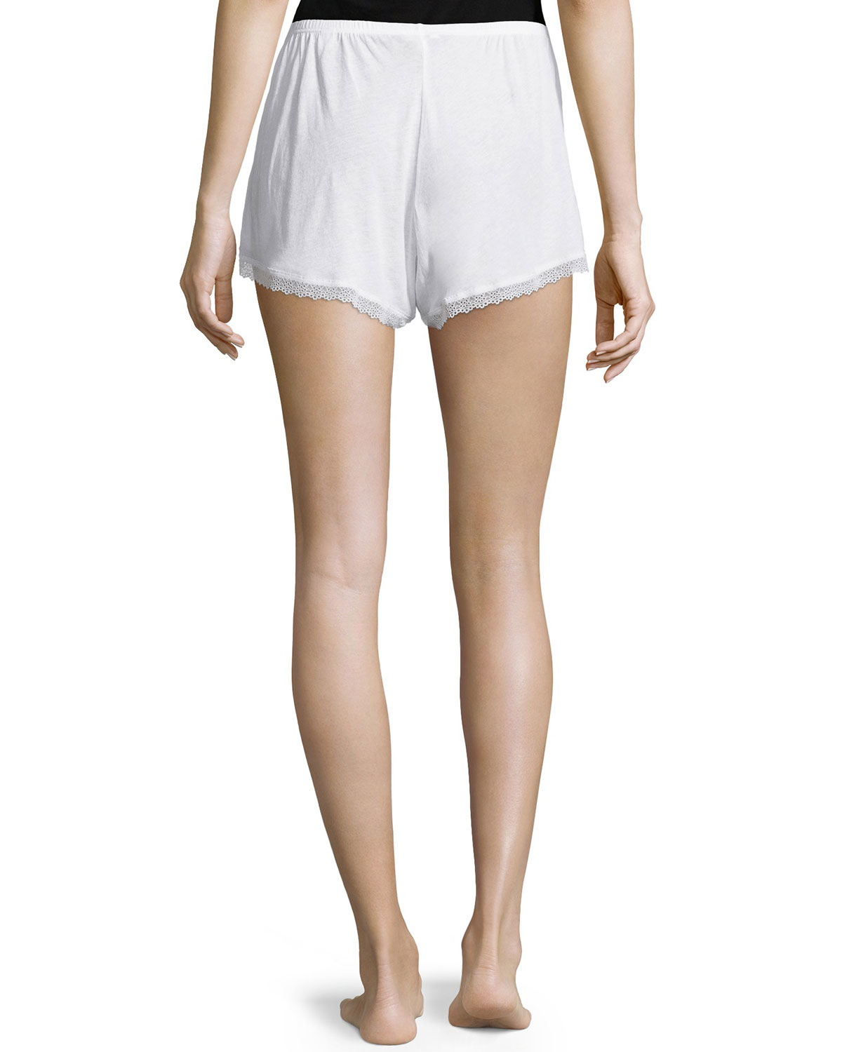 Womens Genevieve Lace-Trimmed Organic Cotton Shorts Skin r49iNfpBJ