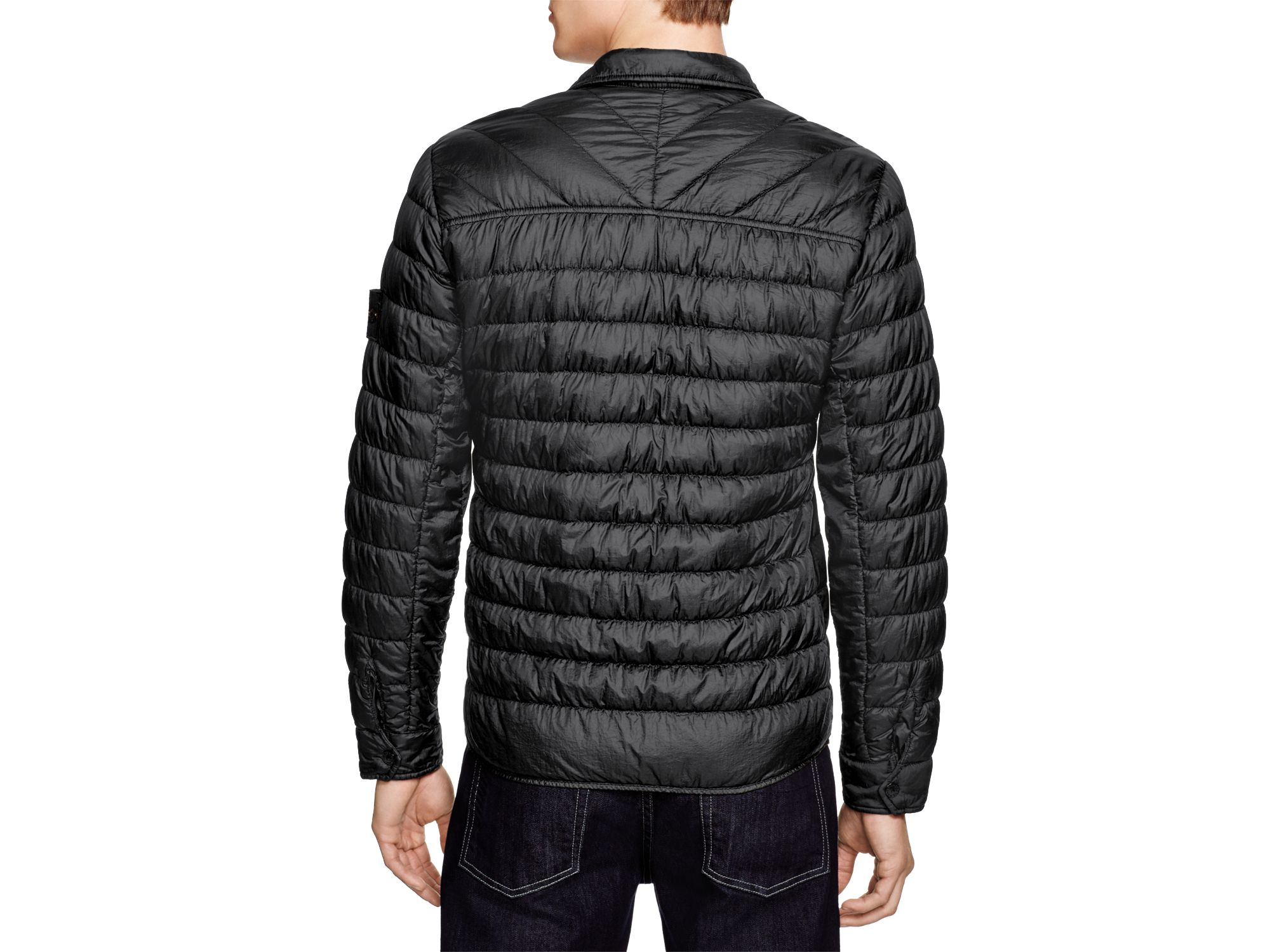 Lyst Stone Island Down Shirt Jacket In Black For Men