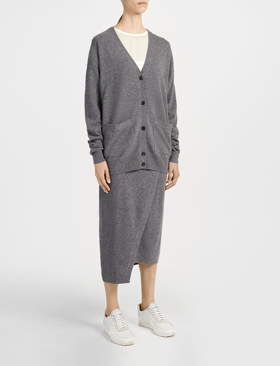 Joseph Soft Wool V Neck Cardigan in Gray | Lyst