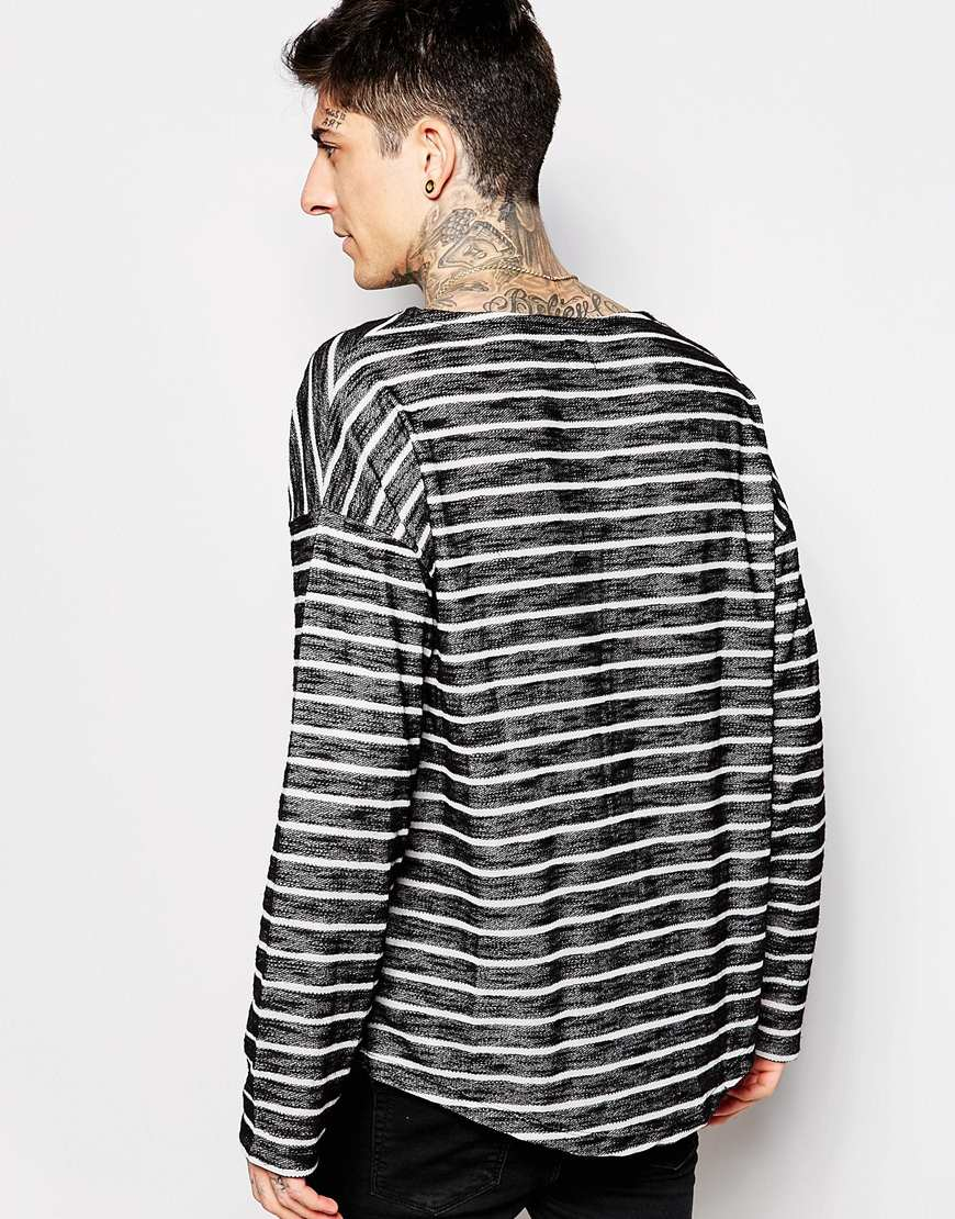 b33ba039deb6 ASOS Oversized Stripe Long Sleeve T-shirt In Loose Knit in Black for ...