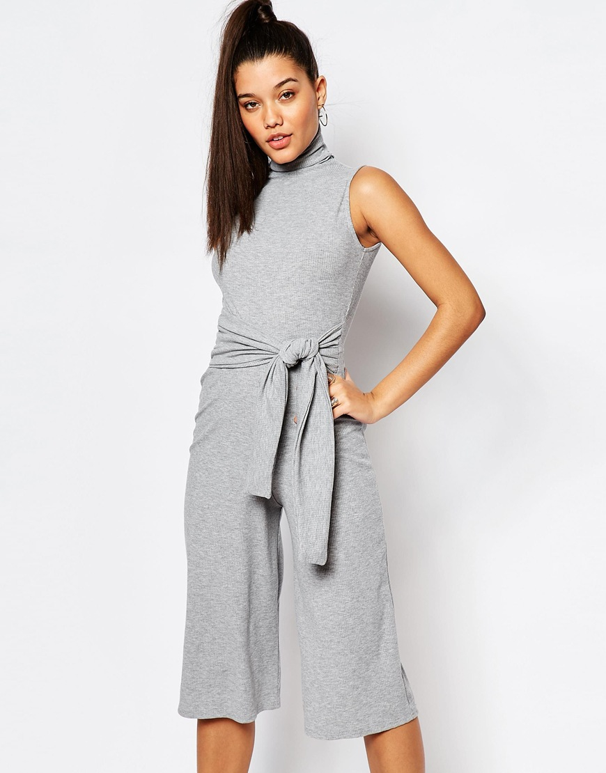 d455bf480a9 Lyst - Missguided Culotte Tie Front Jumpsuit - Gray in Gray
