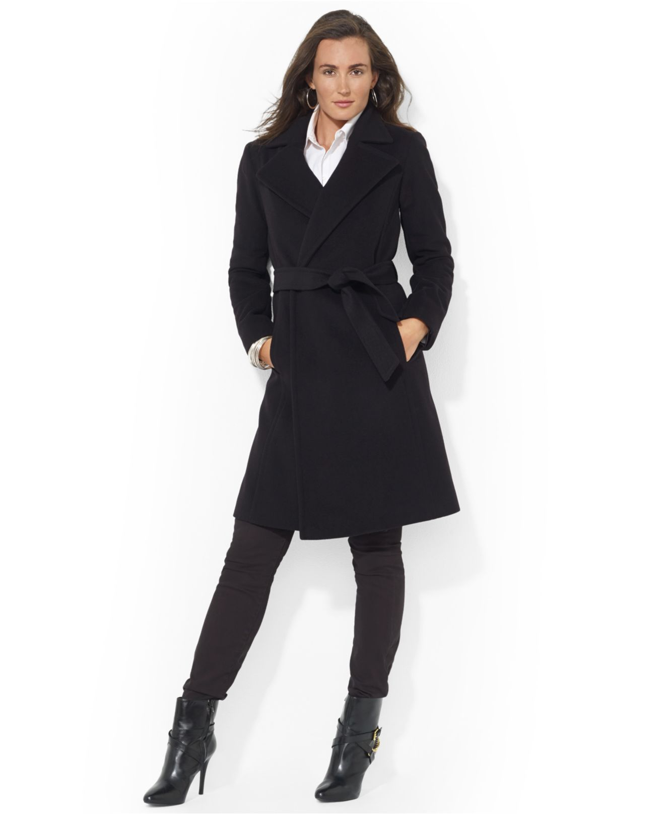 Lauren by ralph lauren Wool-Cashmere-Blend Belted Wrap Coat in ...