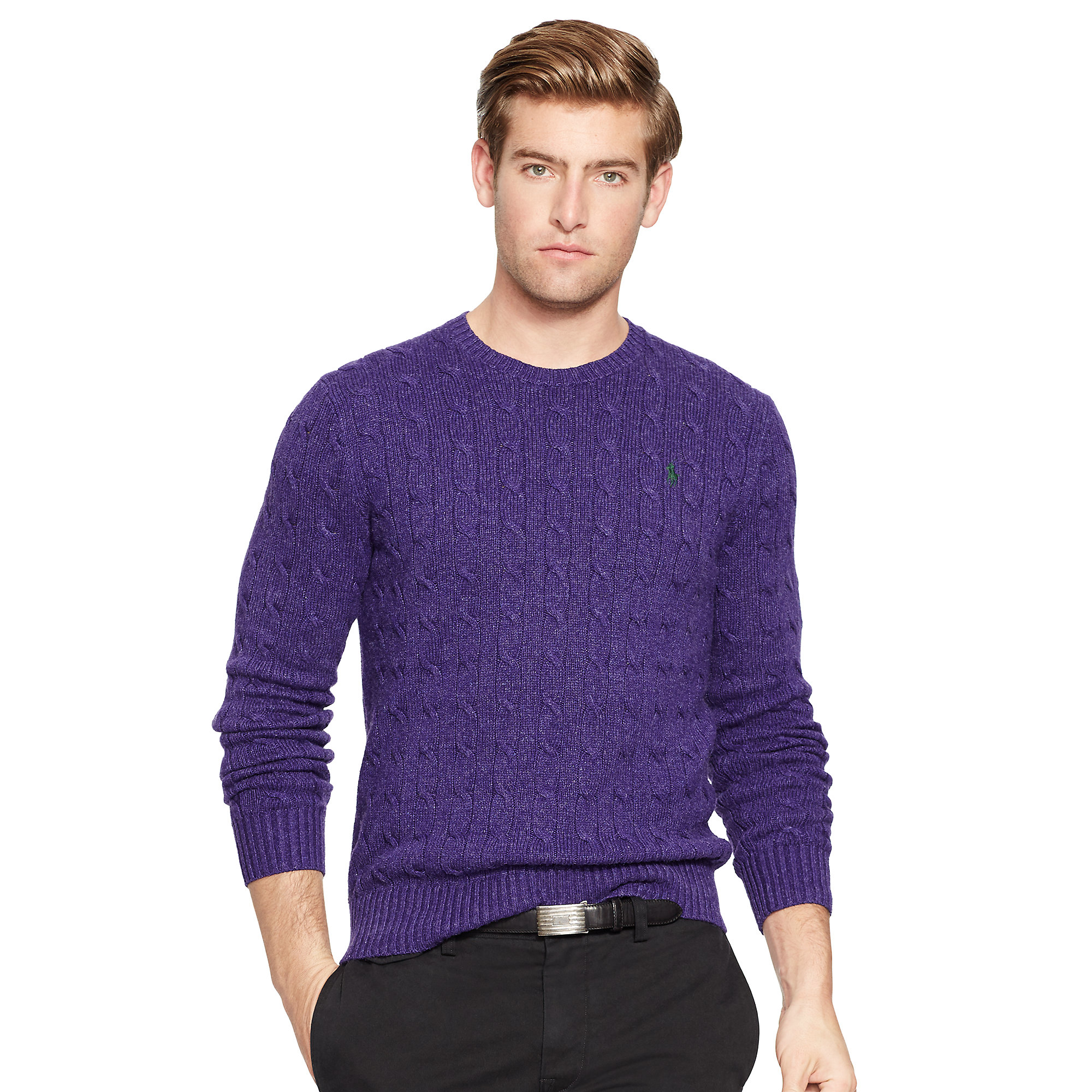 Polo ralph lauren Cable-knit Tussah Silk Sweater in Purple for Men ...