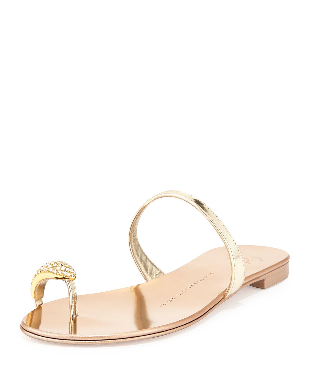 3d57c71e629b Lyst - Giuseppe Zanotti Metallic Toe-ring Flat Sandal in Metallic