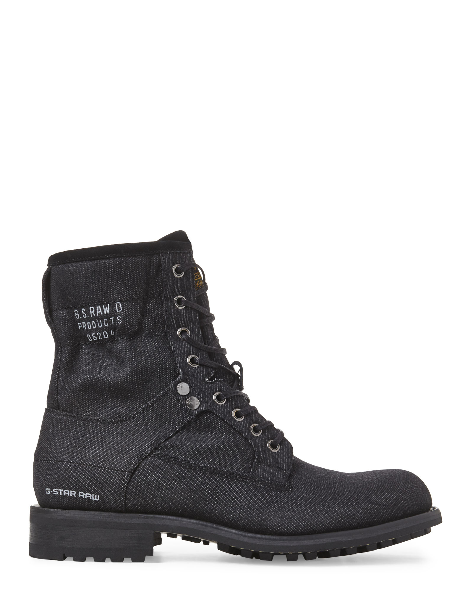 g star raw black patton v denim boots in black for men lyst. Black Bedroom Furniture Sets. Home Design Ideas
