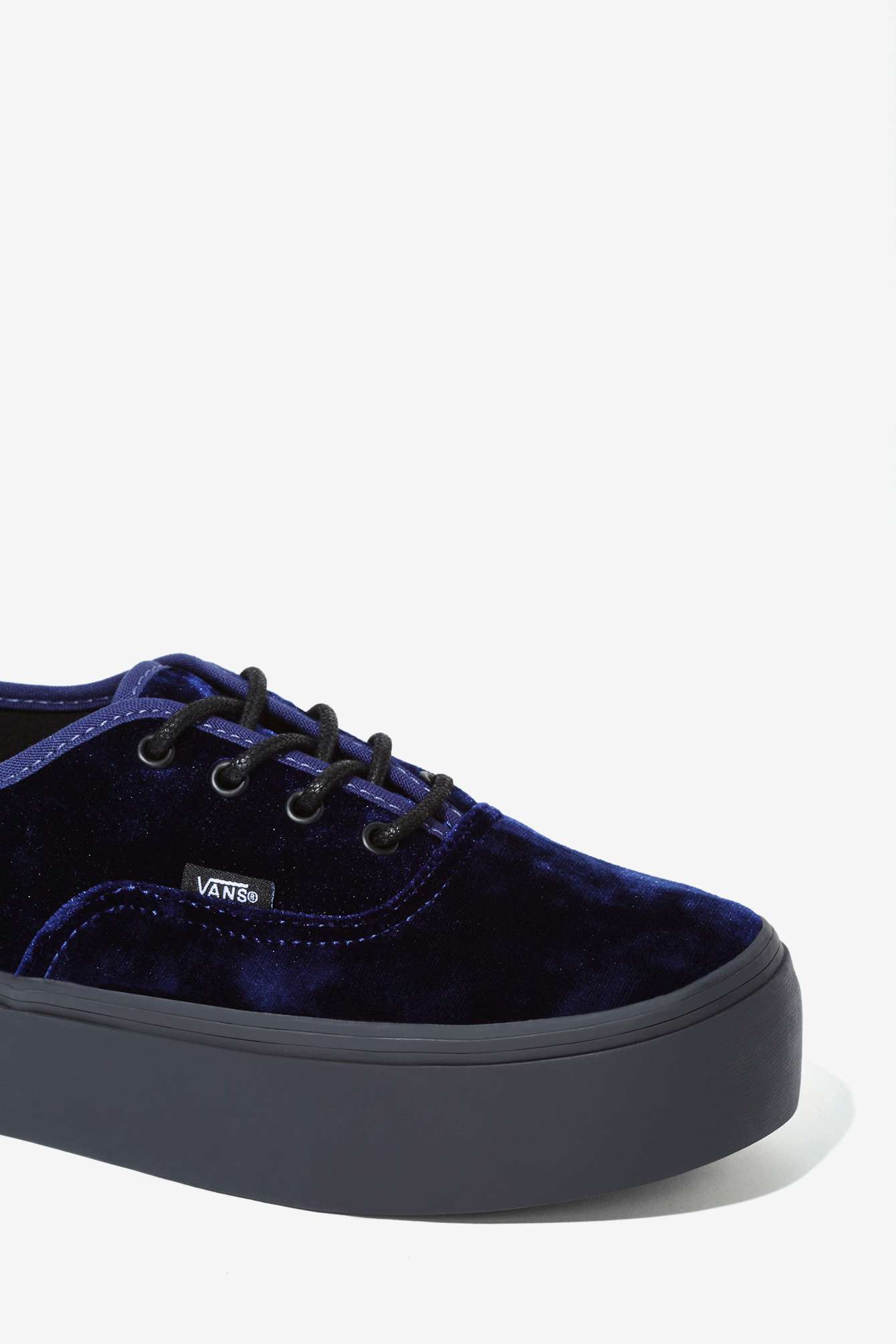 c6f98be65a Lyst - Nasty Gal Vans Authentic Platform Sneaker - Blue Velvet in Blue