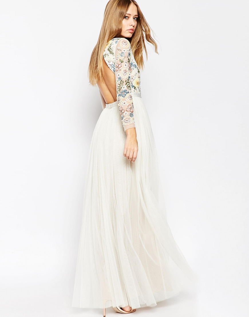 bbbc064cc792d Lyst - Needle   Thread Backless Sheer Sleeve Tulle Embellished Maxi ...