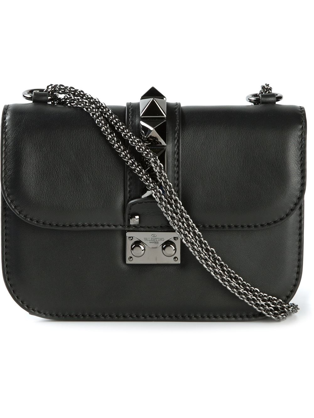 24a611ecf1 Valentino Glam Rock Nappa-Leather Shoulder Bag in Black - Lyst