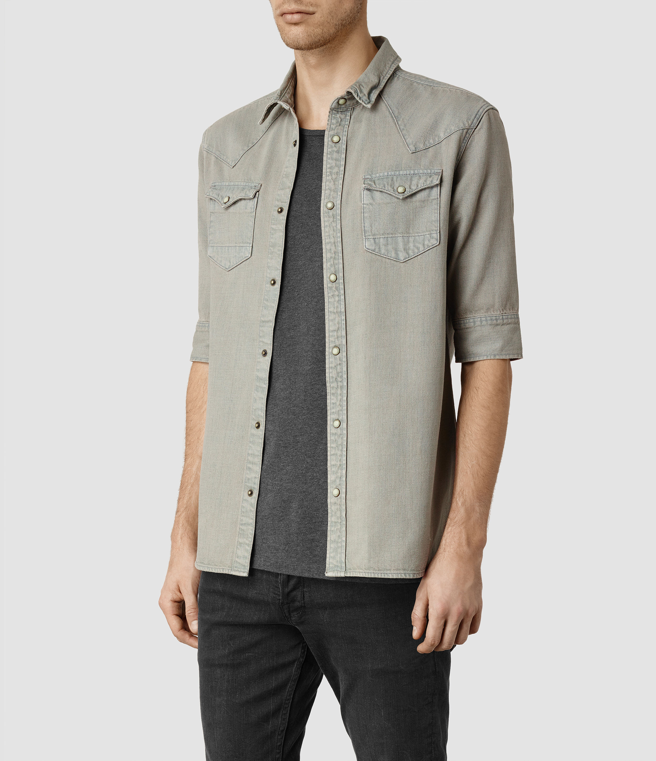 e5e1aaa3d5 Lyst - AllSaints Cannon Half Sleeved Shirt in Gray for Men