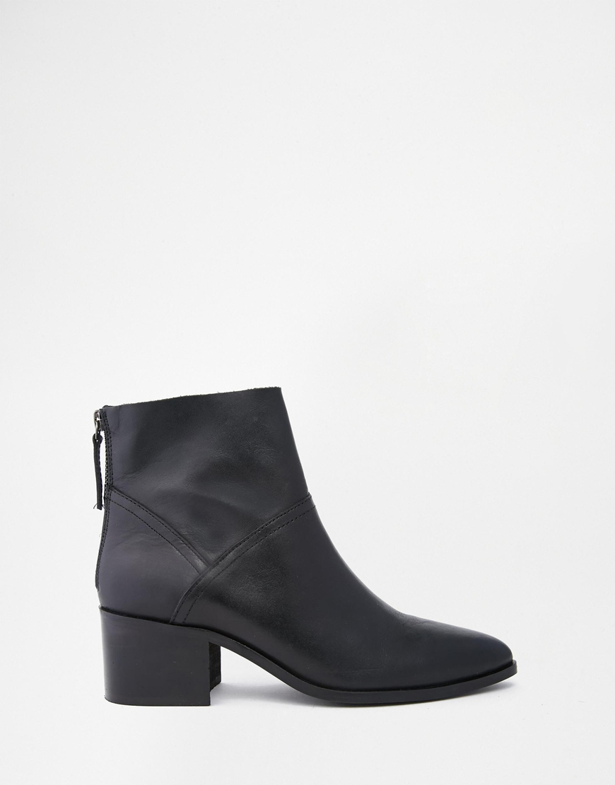 asos reckon leather ankle boots in black lyst