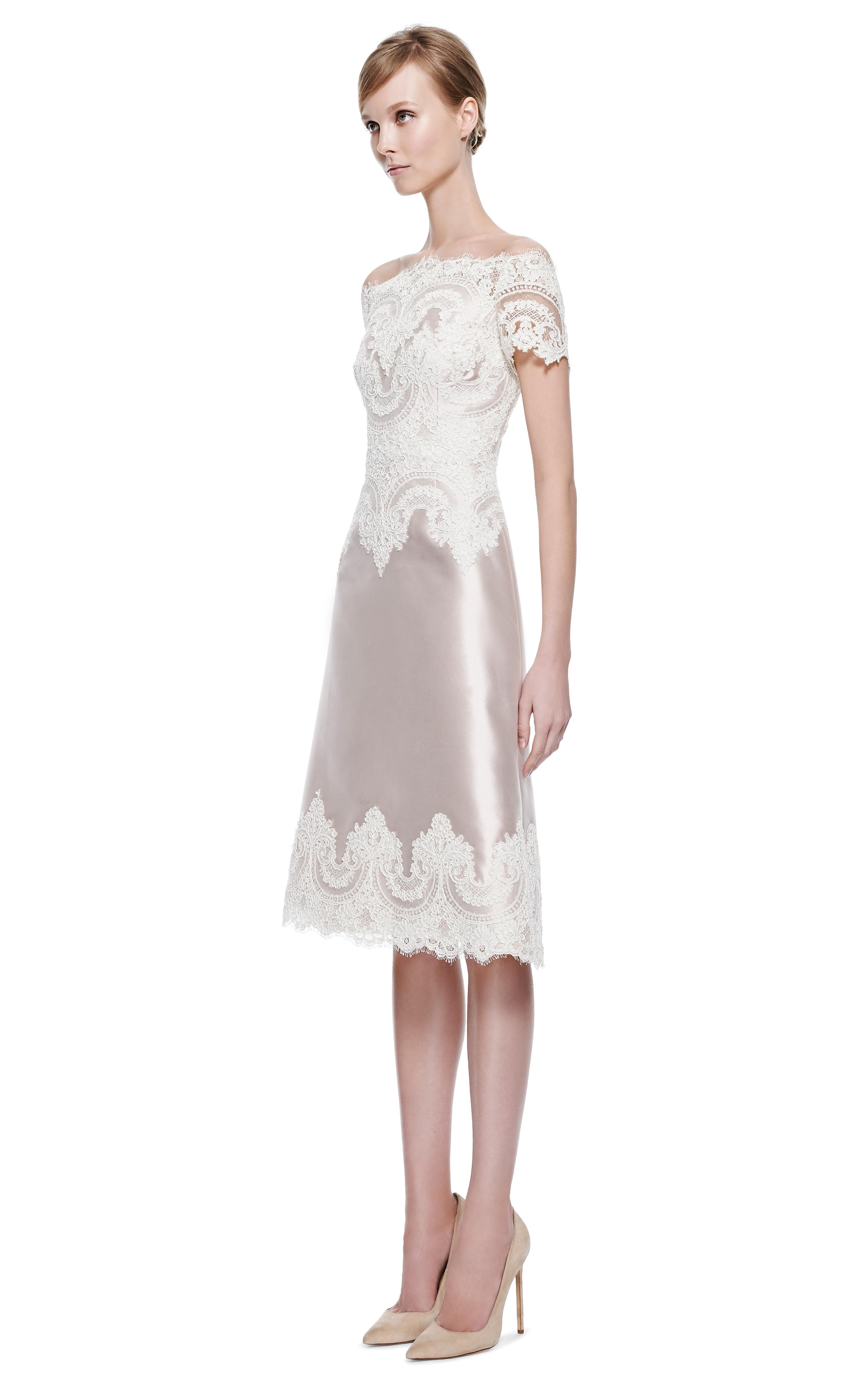 Lyst Marchesa Blush Silk Wool Cocktail Dress With