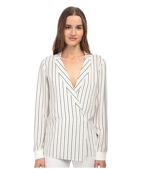 Tibi long sleeve wrap blouse in white lyst for Adam lippes women s long sleeve vee t shirt