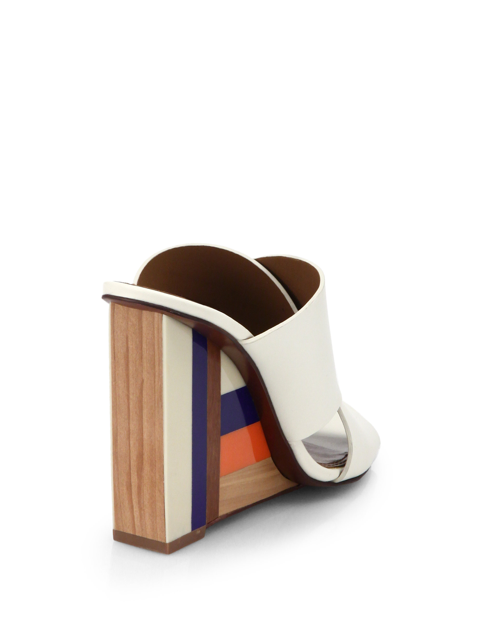 Lyst Tory Burch Colorblock Wooden Wedge Leather Mule Sandals