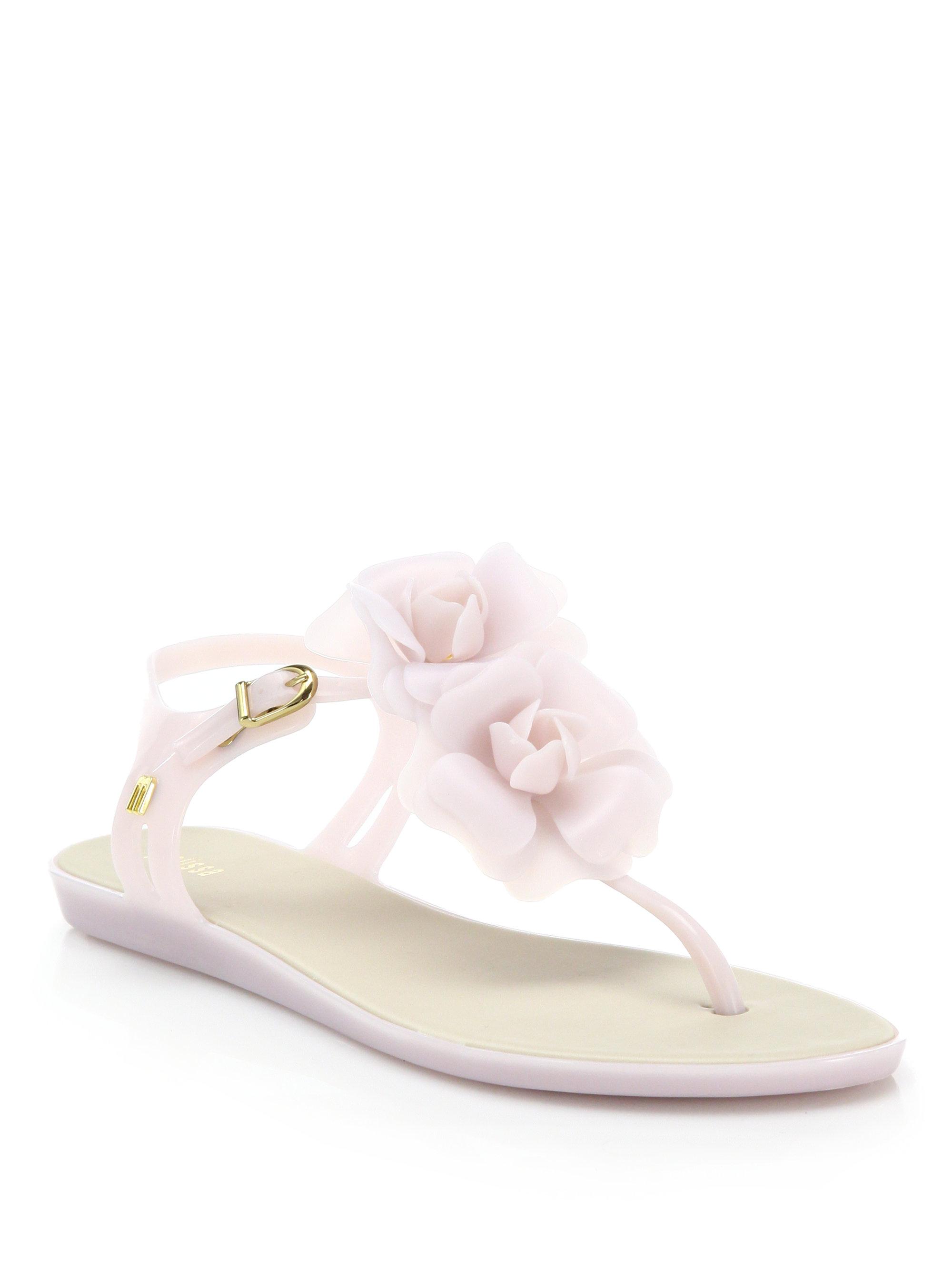 fe597b6796c Lyst - Melissa Solar Garden Rose T-strap Sandals in Natural
