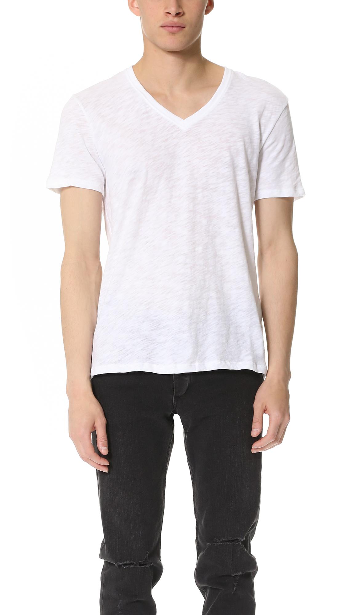 Lyst atm v neck slub jersey t shirt in white for men for V neck white t shirts for men