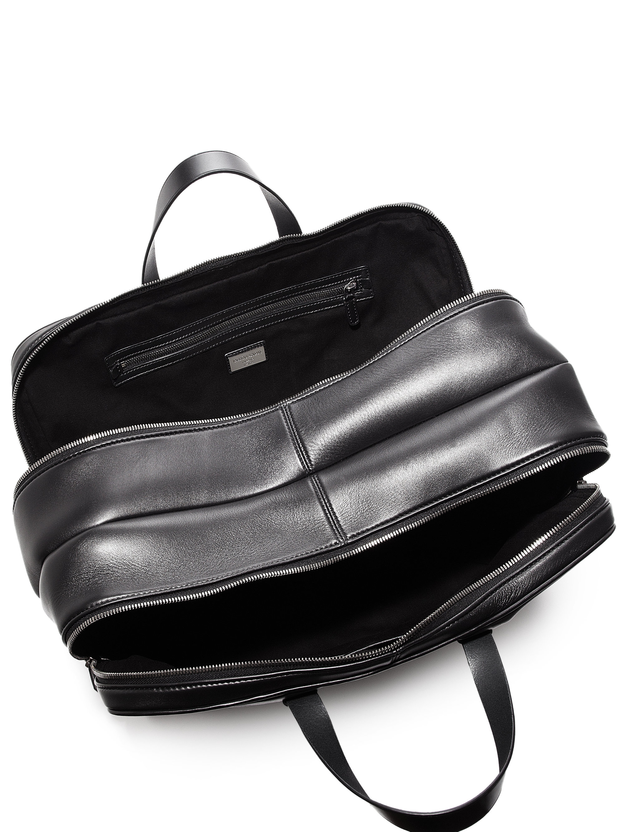 Lyst - Giorgio Armani Smooth Leather Weekender Bag in Black for Men 91ff2b75802ff