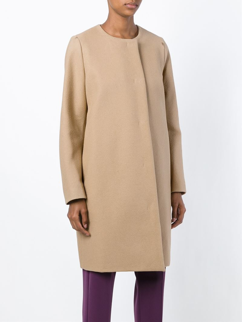 Lyst mm6 by maison martin margiela back slit coat in natural for Mm6 maison margiela