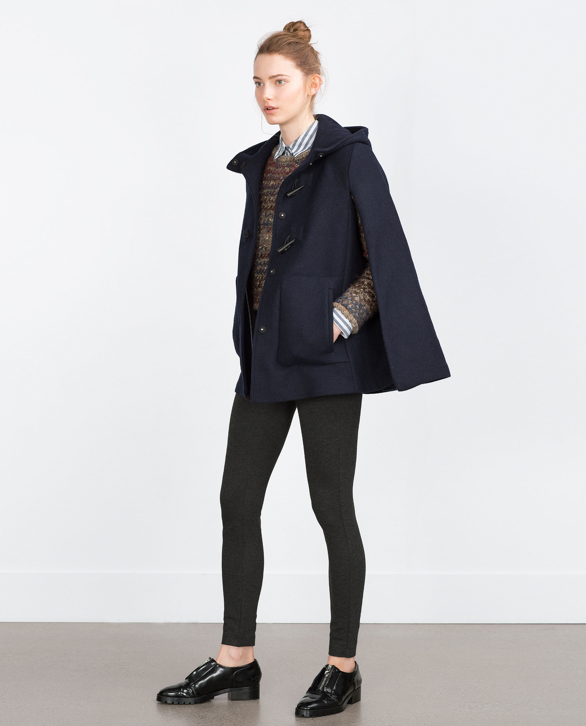 Zara Hooded Cape In Black | Lyst