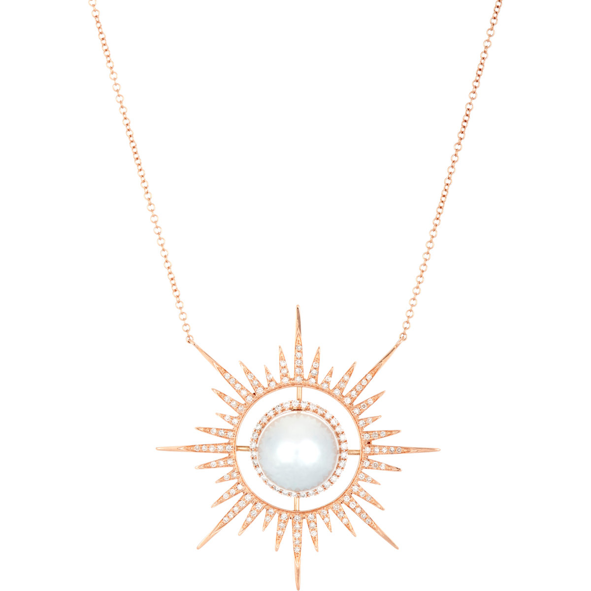 Lyst samira 13 starburst pendant necklace in metallic gallery mozeypictures Images
