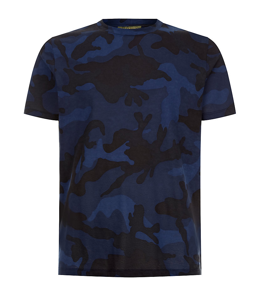 Valentino Camouflage Tshirt in Blue for Men - Lyst f9985e9ddff