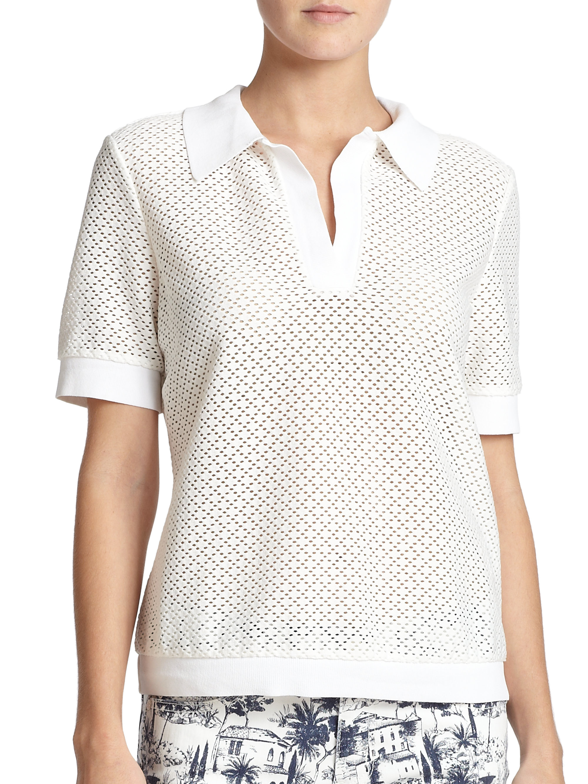 Lyst Tory Burch Eyelet Polo Shirt In White