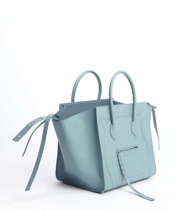 C¨¦line Sky Blue Leather \u0026#39;Phantom\u0026#39; Luggage Top Handle Square Tote ...