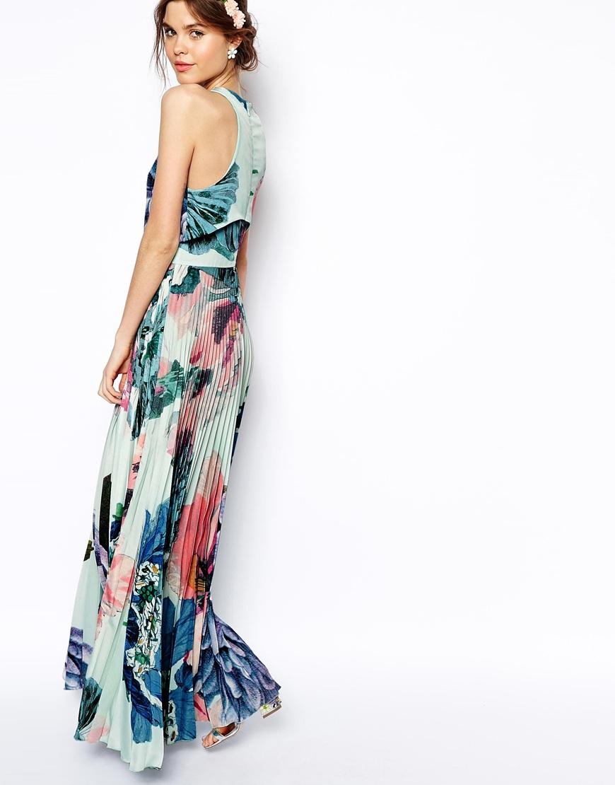 Lyst Asos Pleated Crop Top Maxi Dress