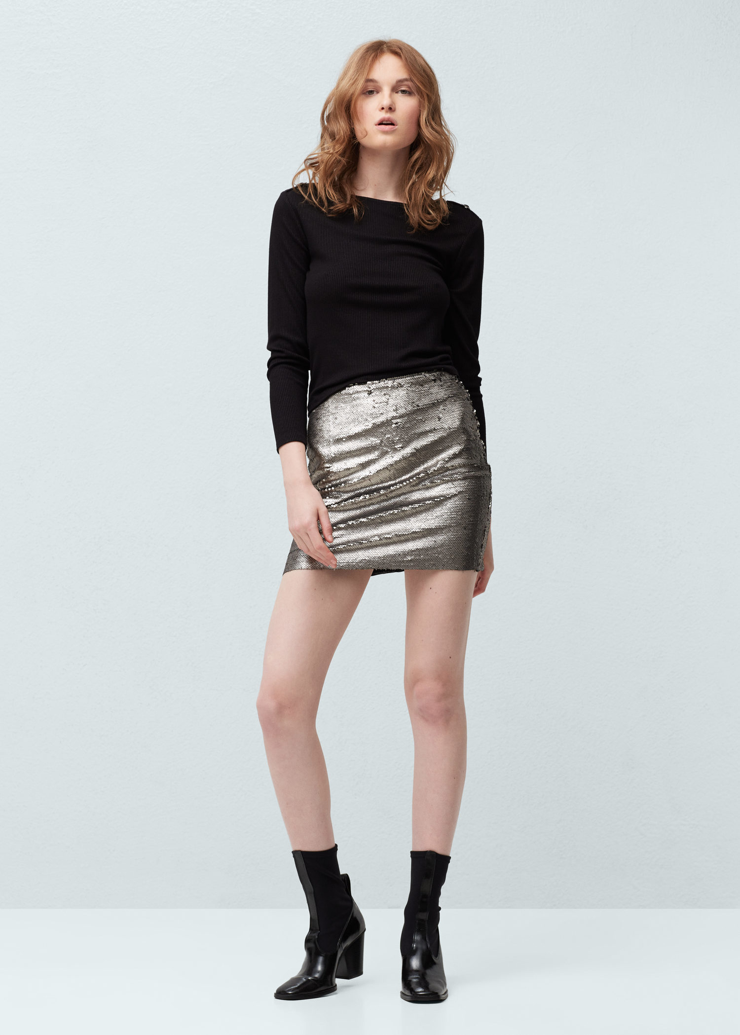 fb3ac699ee Lyst - Mango Sequin Skirt in Metallic