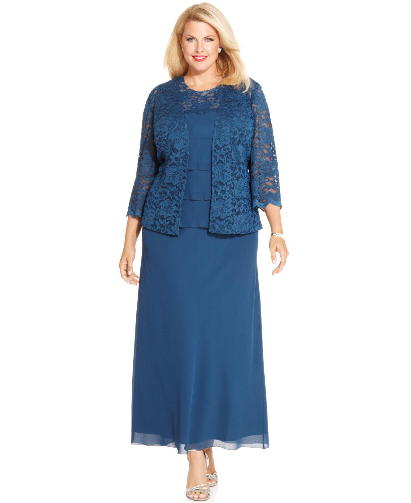 Lyst - Alex Evenings Plus Size Lace Tiered Dress And Jacket in Blue