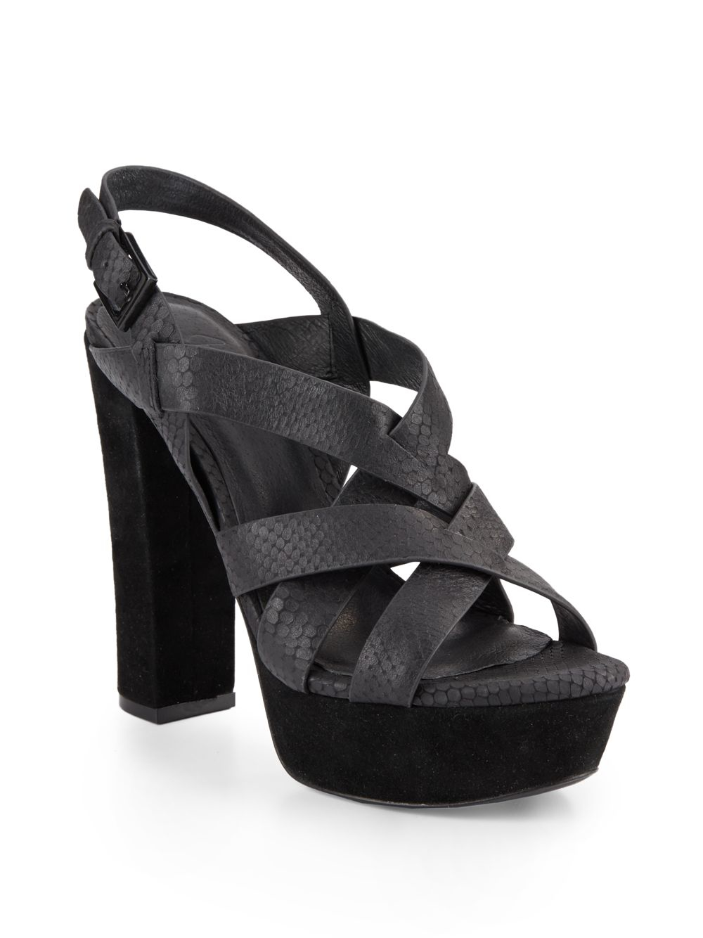 cdaea2aa2d3 Lyst - Joie Inez Snakeskin-embossed Leather Platform Sandals in Black