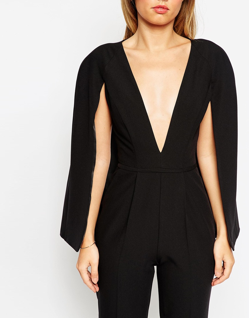 34da2bd0e52 Lyst - ASOS Jumpsuit With Cape Detail in Black