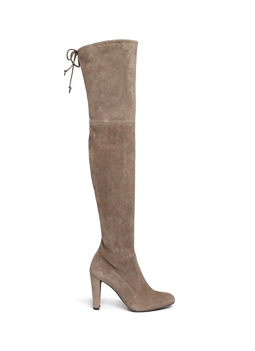 stuart weitzman highland suede thigh high boots in gray