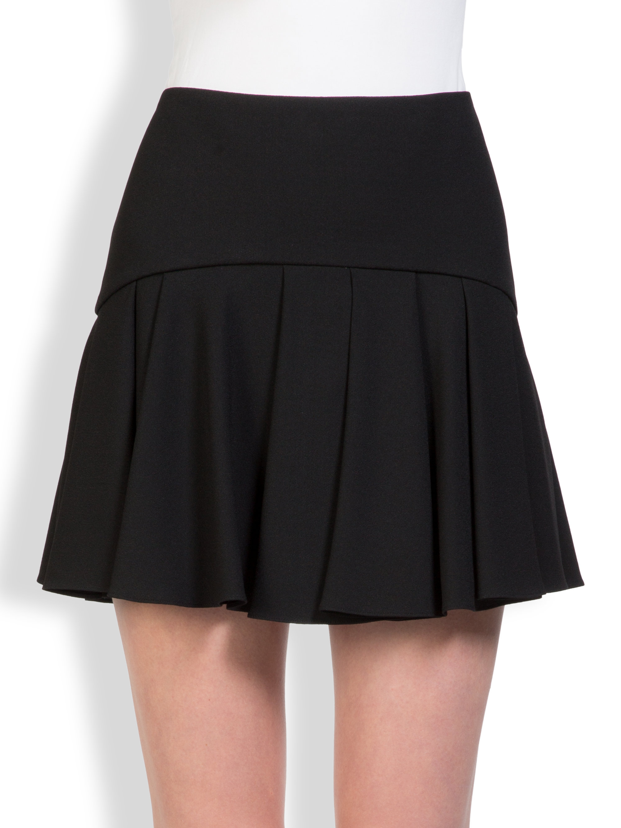 laurent pleated mini skirt in black lyst