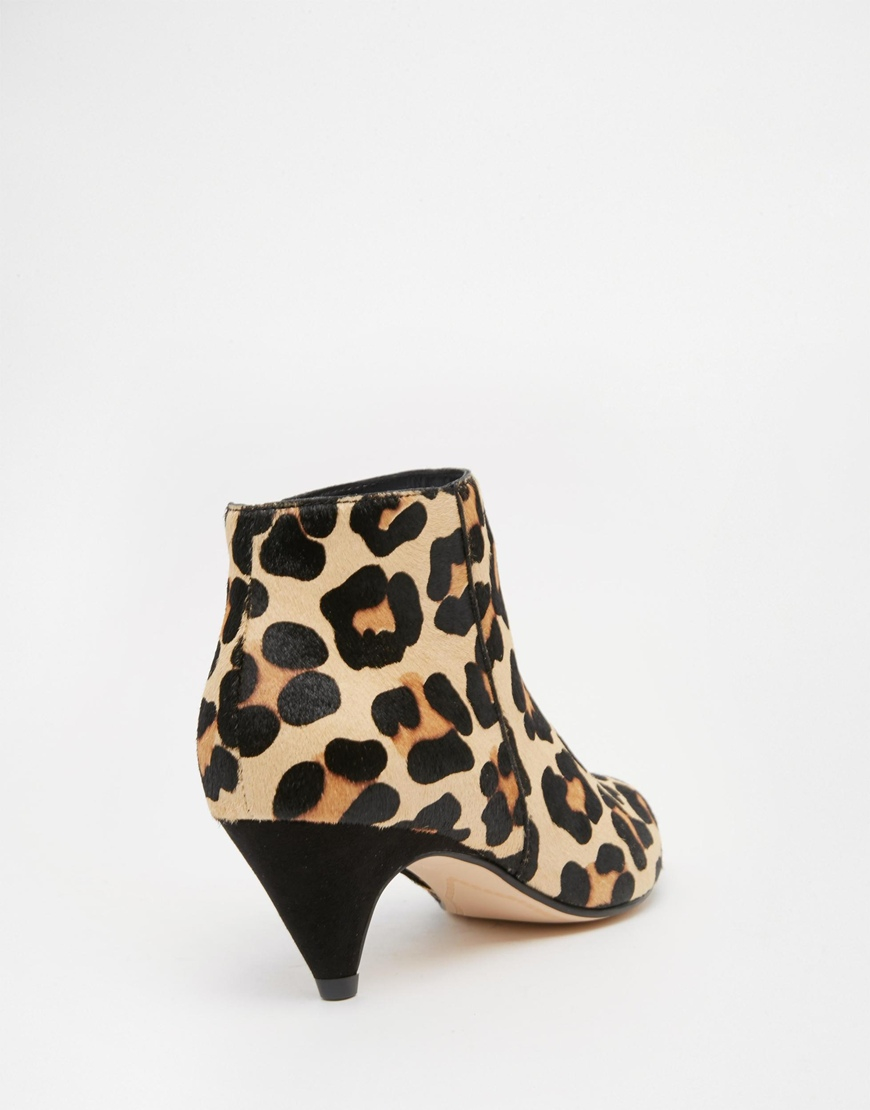 c86e3a1cc0aa5 Lyst - Dune Ophelia Animal Print Pony Effect Kitten Heel Ankle Boots in  Brown