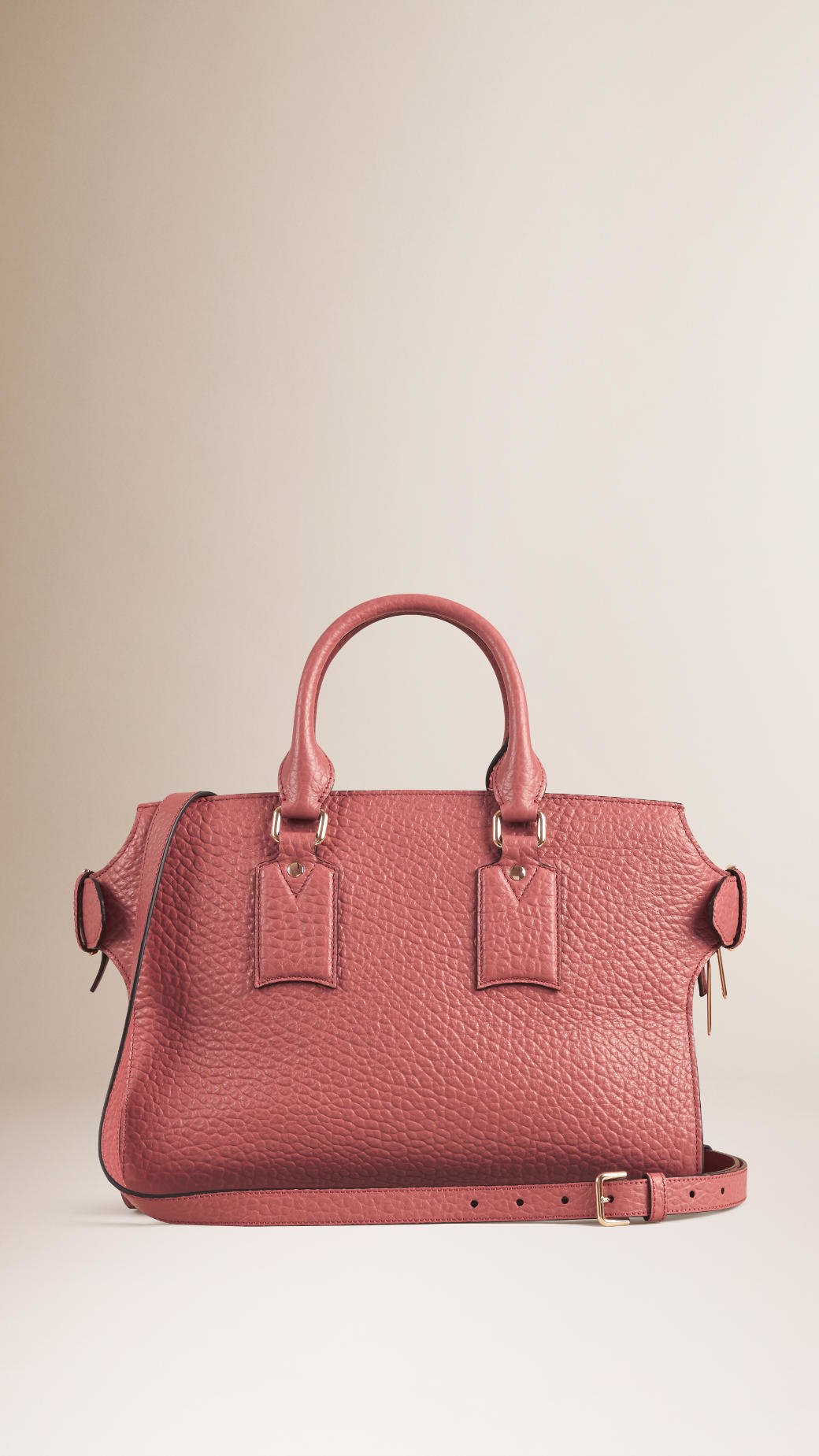 Lyst - Burberry The Medium Clifton In Signature Grain Leather Antique Rose  in Pink 813a6f9566ac3