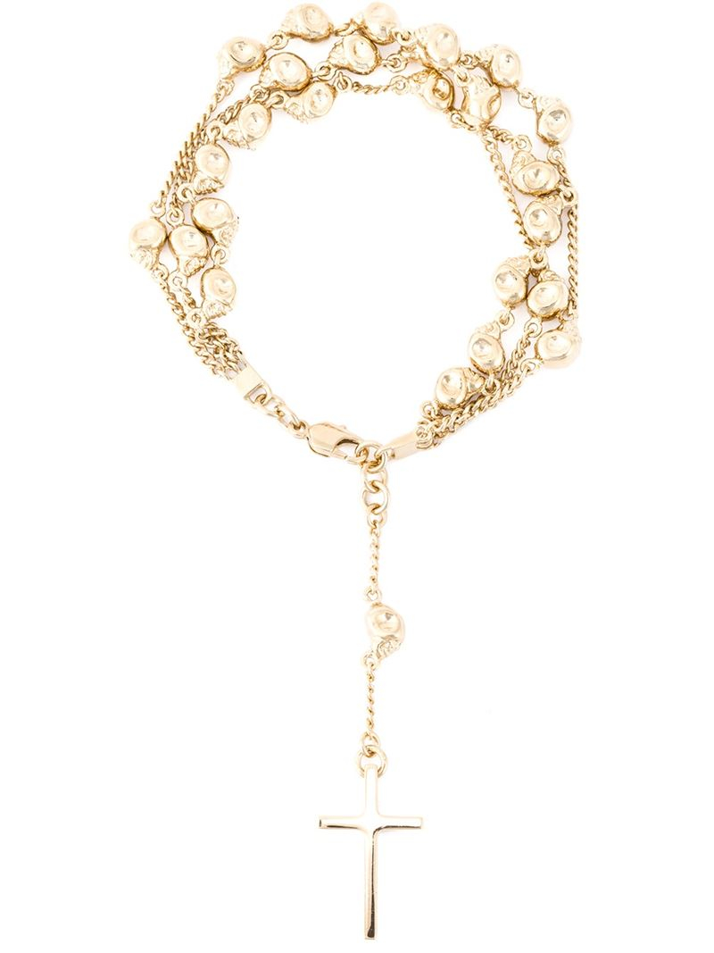 Givenchy Long Rosario Necklace in Metallics,Red