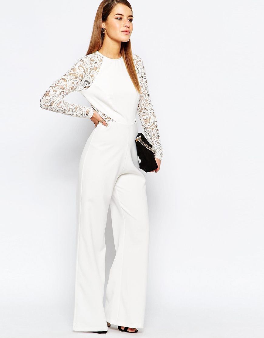 3f564b23e769 Lyst - John Zack Lace Sleeve And Back Detail Jumpsuit in White