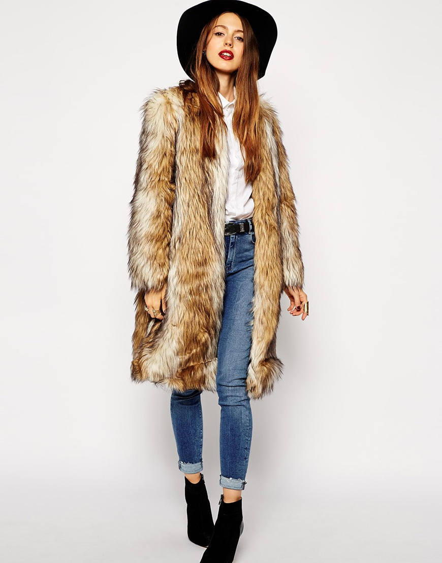 Asos Vintage Faux Fur Longline Coat in Natural | Lyst