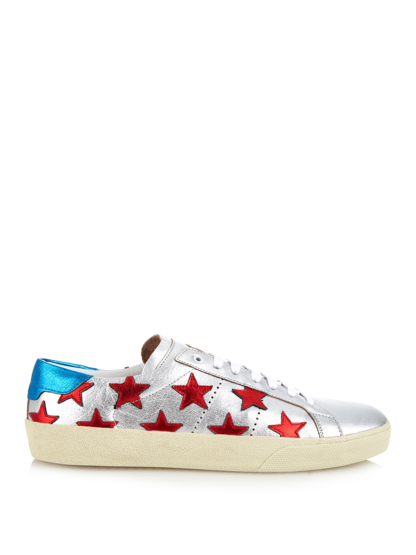 a2a6115c9e48 Lyst - Saint Laurent Star-Embellished Leather Sneakers in Red